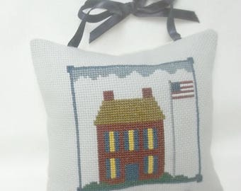 Patriotic Cross Stitch Ornament,  Hanging Mini Pillow, Independence Day,  July 4, House With Flag