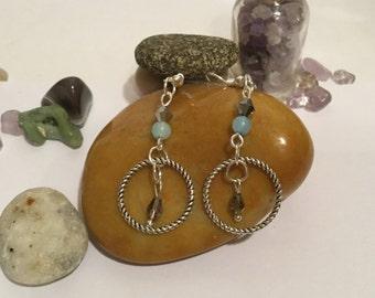 Hand Made Boho Southwestern Beaded Crystal Earrings with Twisted Hoops