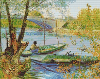 Vincent van Gogh Cross Stitch Chart, Fishing in the Spring Cross Stitch Pattern PDF, Art Cross Stitch, Boats, Embroidery Chart