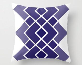 Geometric Diamond Pattern Pillow with insert - Navy Blue -  Abstract Modern Throw Pillow - Modern Home Decor -