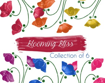 BLOOMING BLISS Floral Clipart Digital PNG