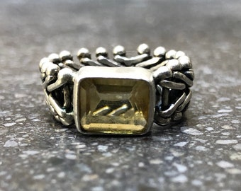 Vintage Citrine Sterling Silver Chain Mesh Ring