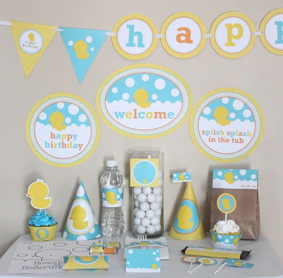 Rubber Ducky Baby Shower Decorations   Neutral Baby Shower Table Signs    Instant Download   Rubber Ducky Baby Shower Party Package   Yellow