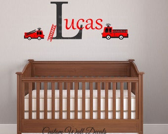 Fire truck Wall Decal  Personalized Initial Name Vinyl Wall Decal perfect decoration for nursery or playroom