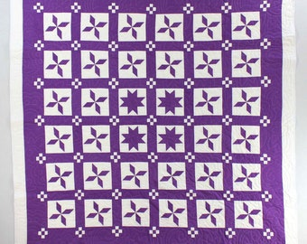 Unique Patchwork Imperial Purple Star design FINISHED QUILT - Masterpiece