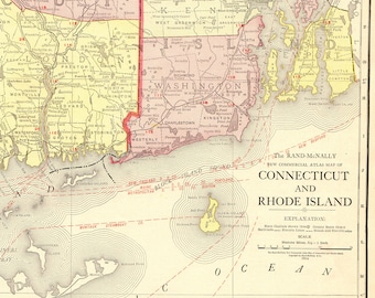 Connecticut map Etsy
