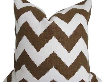 Chevron Brown and White- Designer Decorative Pillow Cover-Throw Pillow-Jonathan Adler for Kravet -Toss Pillow - Accent Pillow- Sofa Pillow