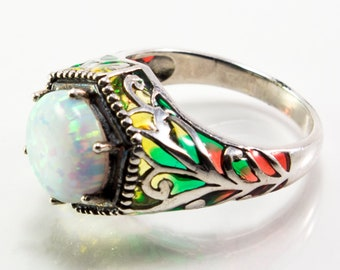 Round Lab Created Opal and Enamel Ring