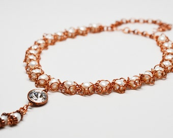Pearls and copper chain