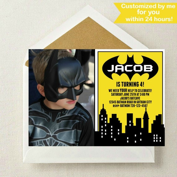 Batman Photo Invitation // Batman Birthday Invitation