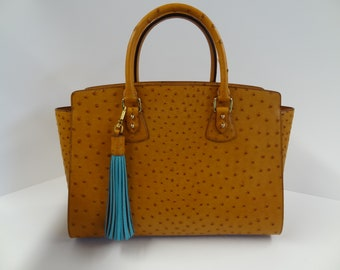 Genuine ostrich leather handmade bag