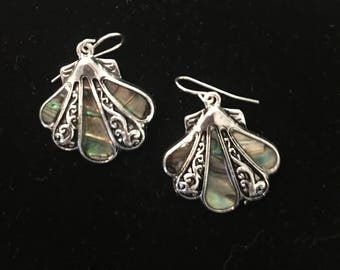 Sterling Silver Sea Shell Earrings With Green Abalone Stones