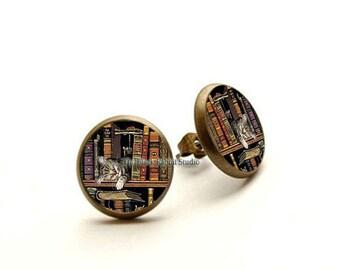 Book earrings, Book Jewelry, Cat Earrings, Literary Jewelry,Library Earrings, Teacher Earrings, Hypoallergenic Earrings for Sensitive Ears