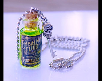 Embalming Fluid Necklace ,Green n Pink  Fluid Bottle ,Post Mortem, Mortician , Undertaker Creepy Fun  Glass 2ml, 6ml Vials By: Tranquilityy