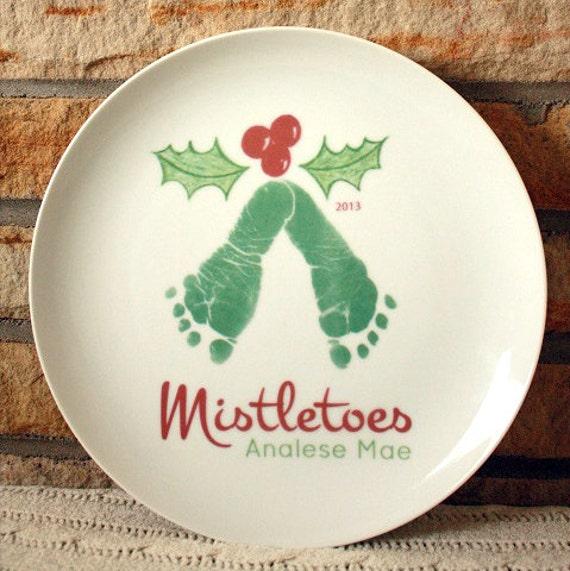 Mistletoe Footprint Plate Cookies For Santa Grandma