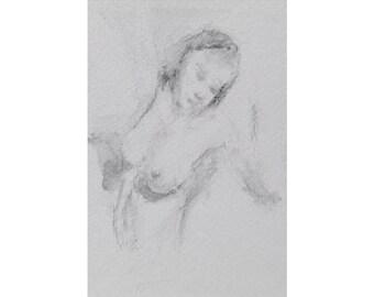 Torso - 4x6, graphite/wash on paper