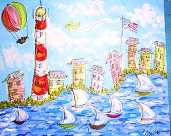 LARGE Dreamy Original Land/ Sea Scape Painting Made To Order YelliKelli