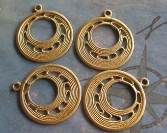 4 PCRaw Brass Art Deco Hoop Finding - Q0271