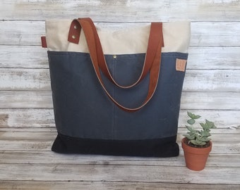 Everday Tote, waxed canvas bag, waxed canvas tote