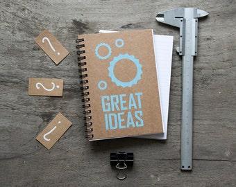 """4x6"""" BLUE Great ideas spiral notebook, kraft paper note pad, paper notebook, pocket notebook, blank book, writing notepad, notebook journal"""