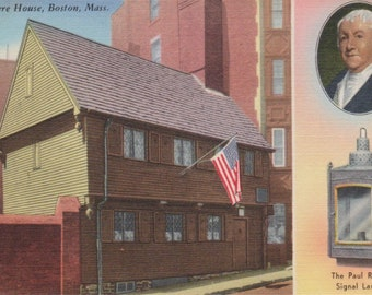 Antique Linen Historical Postcard, Vintage Postcard, Ephemera, Paul Revere House, Boston Massachusetts, The Paul Revere Signal Lantern
