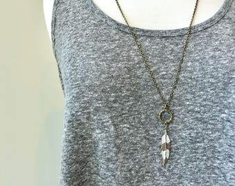 Boho feather necklace // long feather necklace // bronze feather charm // long boho necklace // boho necklace // long bronze necklace
