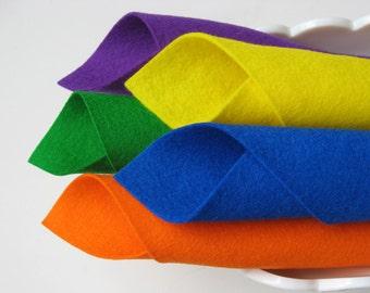 Wool Felt Set, Jelly Bean Color Story, 100% Merino, Wool Felt Squares, Bright Colors, Rainbow, Blue, Green, Purple, Orange, Yellow, Primary