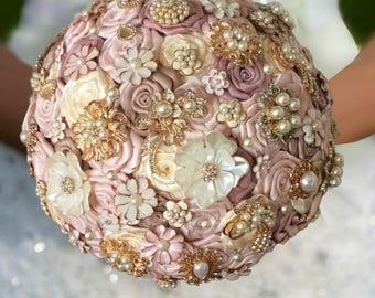 Rose Gold Brooch Bouquet, Blush Brooch Bouquet, Blush Bouquet, Rush Orders Welcome! Starting at 150.00, Add a Cascade