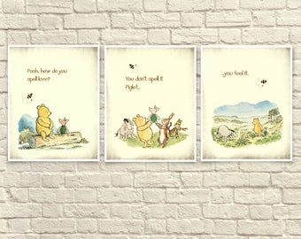 Classic Winnie The Pooh Wall Art, Winnie the Pooh Prints, Pooh and Piglet, Baby Nursery Art, Children's Art, Winnie the Pooh Quote,