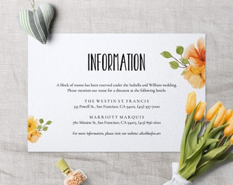 Wedding Details Card, Colorista, Wedding Enclosure Card, Wedding Info Card, Floral, Wedding PDF Template, Greenery Wedding, Editable PDF