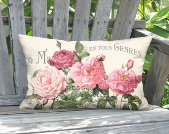 Lumbar Pillow Cover - Pillow - 12x20 12x22 12x24 14x20 14x22 14x26 16x20 16x24 16x26 Inch Linen Pink Rose Shabby Cottage Cushion Cover