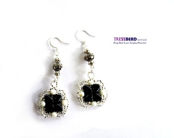 Black Czech 2-Hole Silky Glass Beads  Beadwoven/ Beaded Dangle Earrings