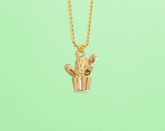 Get 10% OFF - Cactus Necklace - Cactus Charm Necklace - Gold Plated Charm Necklace - Mother's Day SALE 2018