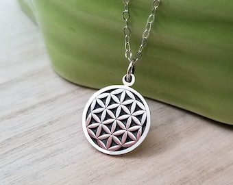 Flower of Life Necklace, Sterling Silver Flower of Life Necklace, Yoga Necklace, Flower of life Charm Necklace, Spiritual Jewelry