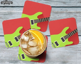 Coaster set of 4 Guitar, guests serving coaster, musical instrument, electronic guitar, table top decor, music studio decorative coasters
