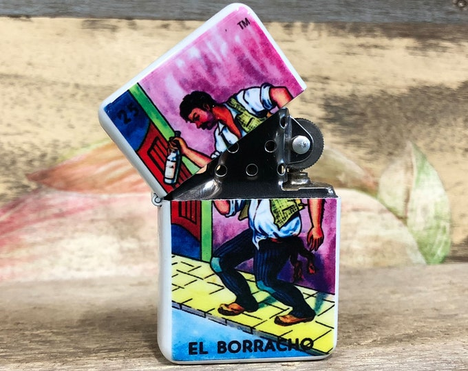 El Borracho Loteria lighter Sublimated Retro Cigar Gift for Him Groomsmen Bachelors Fathers Day