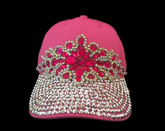 """Women's Baseball Hat, Jeweled Baseball Cap, Golf Visor, Mother's Day Golf Gift, Baseball Cap in Brigh Pink and Crystal Bling- """"Leading Lady"""""""