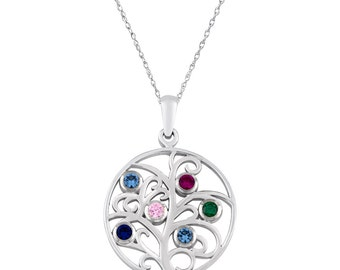 Family Tree Pendant With Six Personalized Birthstones In Sterling Silver