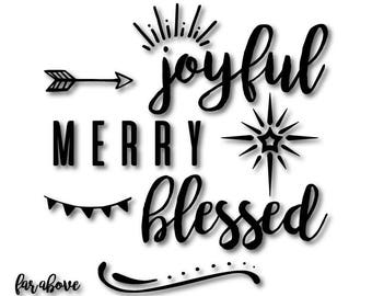 Joyful Merry Blessed Word Art with Arrow, Christmas Star, and Banner - SVG, DXF, eps, png, jpg digital cut file for Silhouette or Cricut
