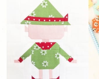 Christmas Elf Quilt Block Pattern 6 inch and 12 inch instructions