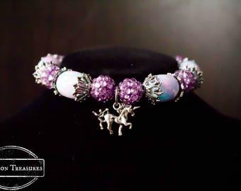 Sparkle Cotton Candy Color Unicorn Charm Bracelet Pastel Colors Pink, Blue and Purple Glass Bead and Silver Unicorn Charm Bracelet