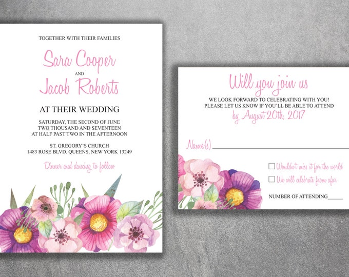 Floral Wedding Invitation Printed Set, Succulent Wedding Invitation, Cheap Wedding Invitation, Pink, Elegant, Flowers, Purple, Green, Gold