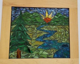 Mountain Morning Mosaic Art, Cupboard Door Wall Art, Mosaic Wall Hanging, Mosaic Wall Art, Wall Decor, Mosaic Wall Decor