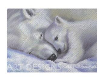 ACEO Snuggling Polar Bears Art Print, SFA Small Format Art, Artist Trading Card, Wildlife Pastel, Archival Art Print, Bear Art, ADA-P257