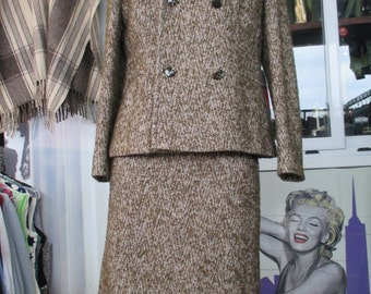 Tailleur anni 60 in tweed.Giacca e gonna.Taglia 44/60s tweed skirt suit/Double breasted/Pencil skirt/Size 10 US