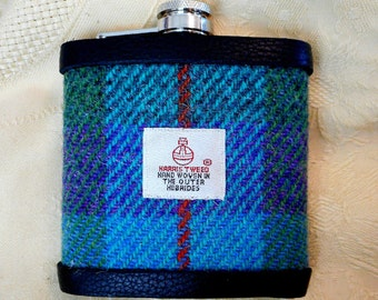 Harris Tweed hip flask green purple and jade fromTweed with a Twist mens gift retirement best man usher groomsmen  made in Scotland  UK