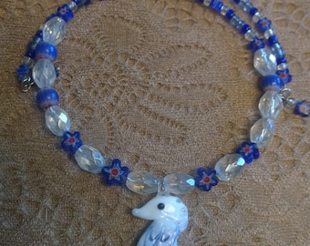 Blue Seahorse Choker, Blue Beaded Necklace, Seahorse Necklace, Beach Necklace