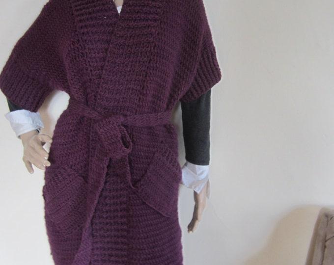 KNIT MAXI CARDIGAN/purple  Plus size  cardigan/ Maxi Cardigan sweater,/Oversize sweater, Winter/Fall, Cardigan, sweater, womens cardigan