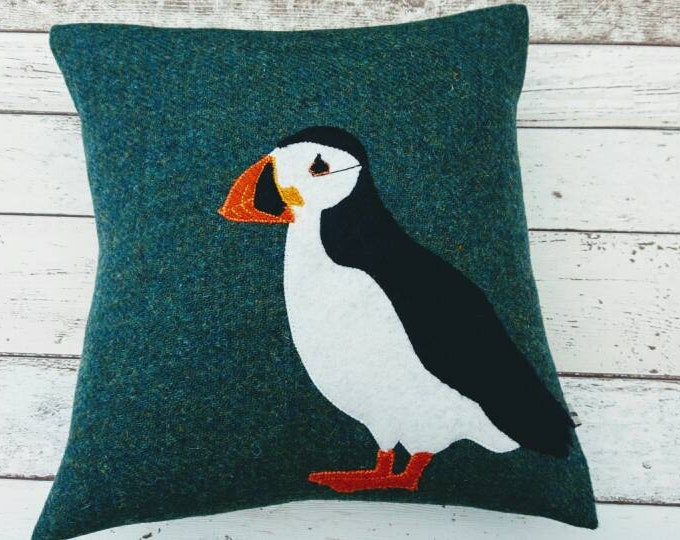 Hand Crafted Harris Tweed Puffin cushion cover