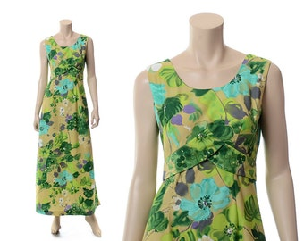 Vintage Hawaiian Dress, 60s 70s Hawaiian Dress, Floral Maxi Dress, 1960s 1970s Hawaiian Dress, Kimos Polynesian Tiki Party Luau / size 10